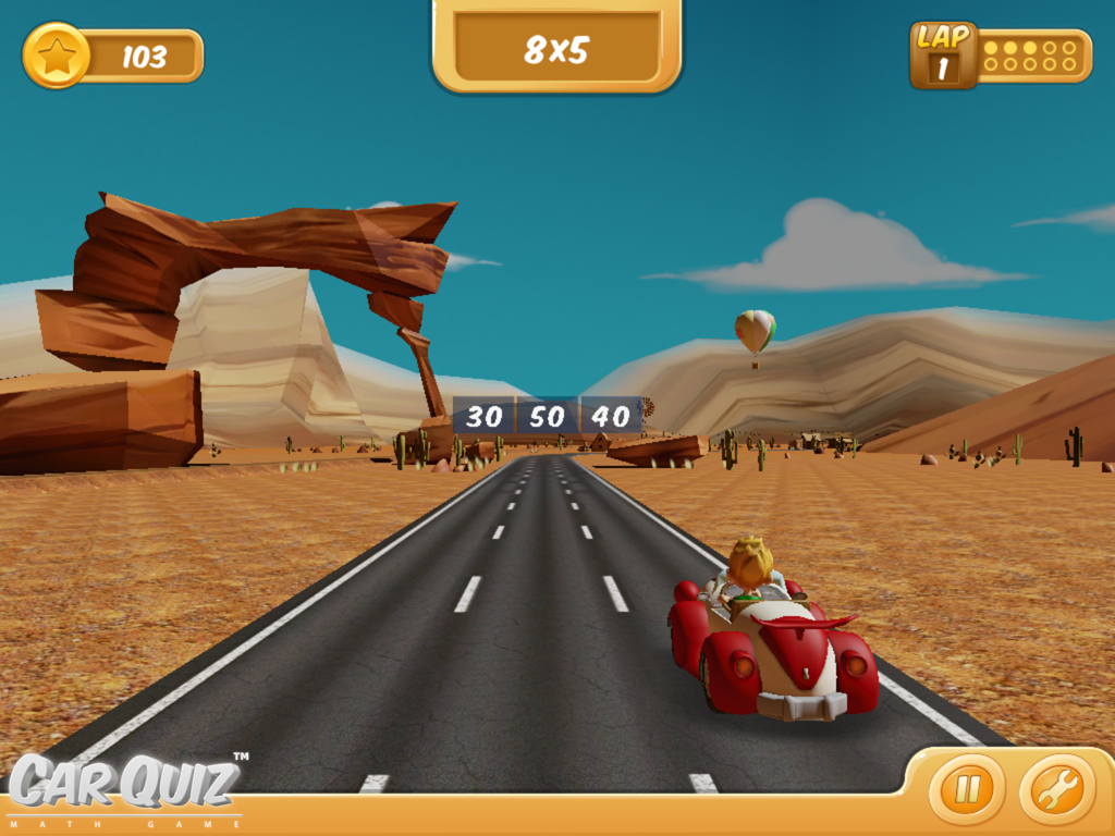 CarQuiz Math Game Desert