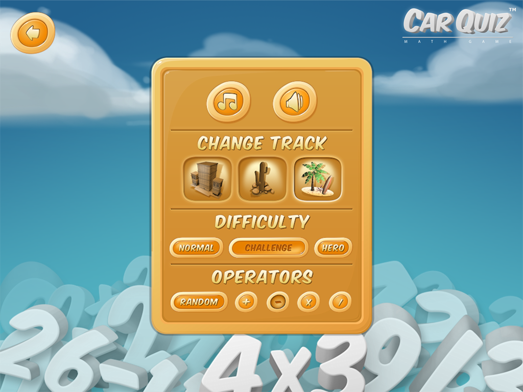 CarQuiz Math Game Options Screen